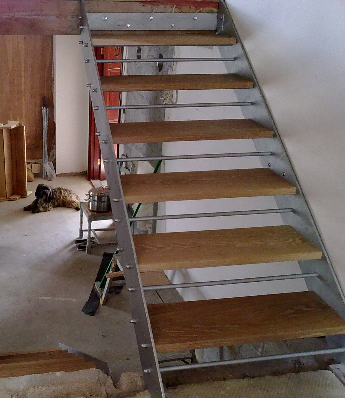 wood and steel staircase