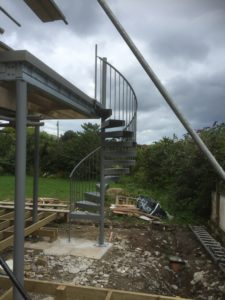 Spiral stairs being fitted