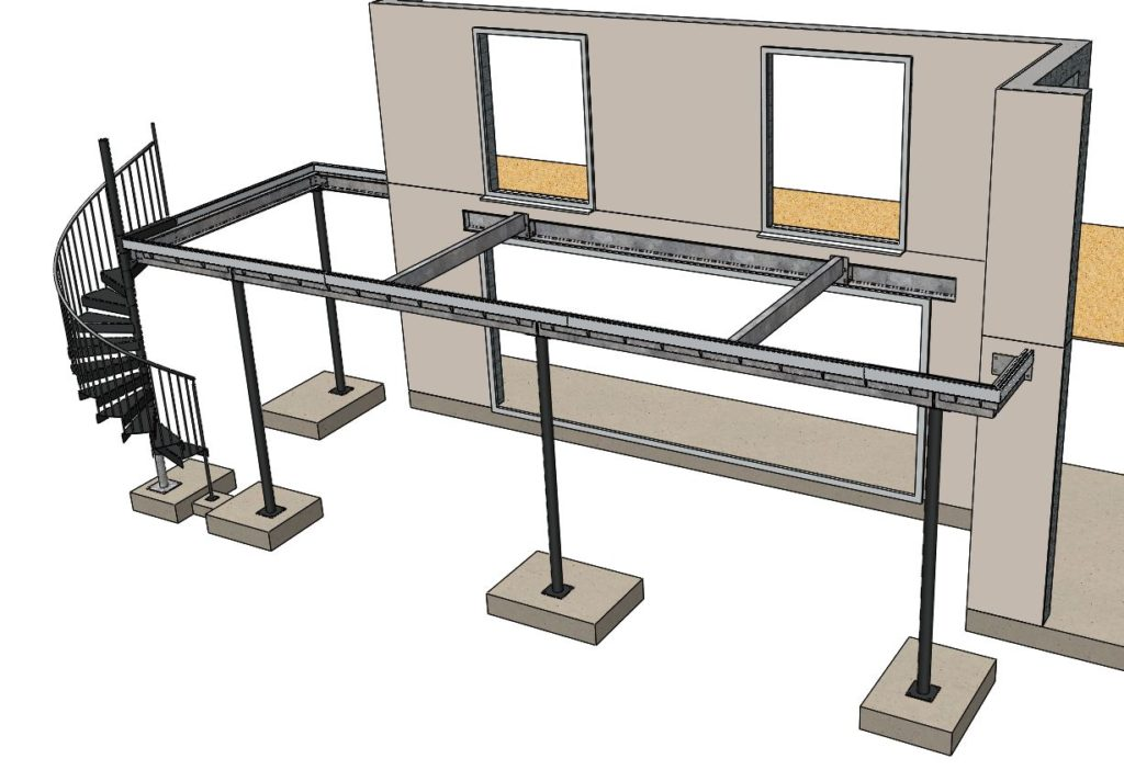 balcony and staircase CAD