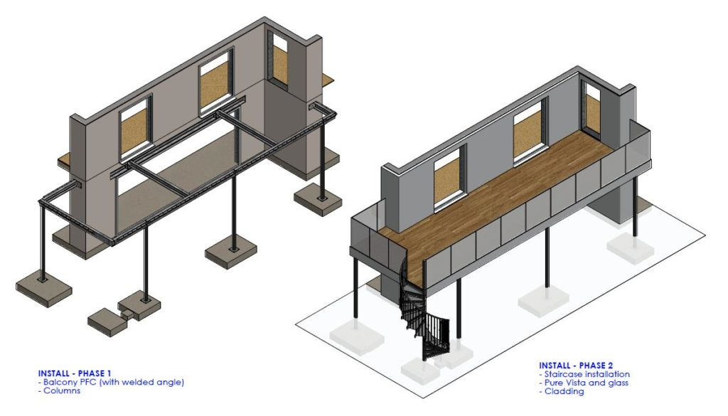 Balcony and stair installation