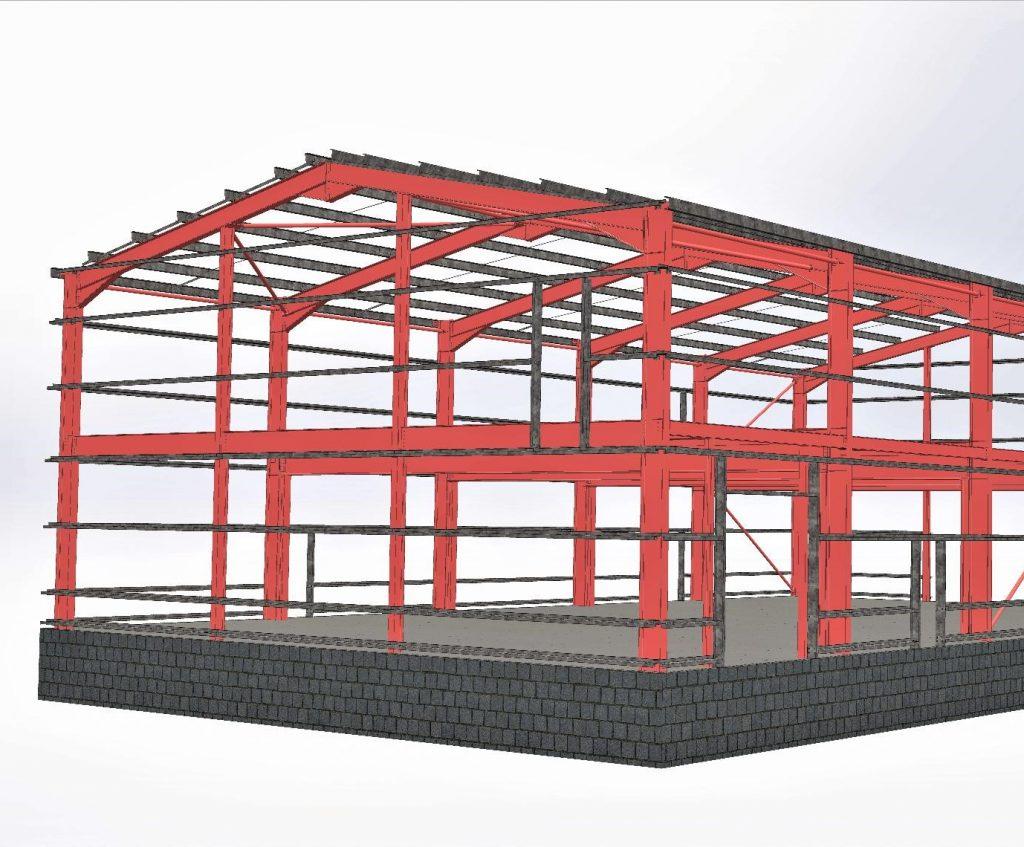 3D render of steel frame construction builing